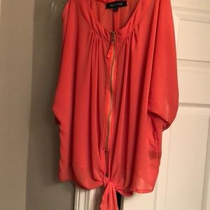 Women's coral cold-shoulder zip front blouse